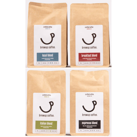 Brewup Coffee: Taster Pack 4 X 225g Bags, Whole bean