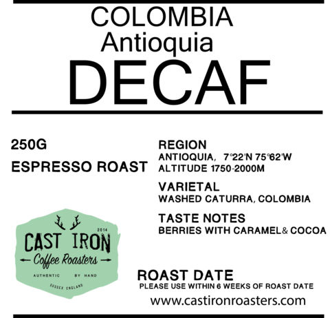Cast Iron Coffee Roasters - Colombia - Antioquia - Decaf - Washed