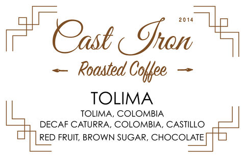 Cast Iron Coffee Roasters: Colombia, Tolima - Decaf - Washed