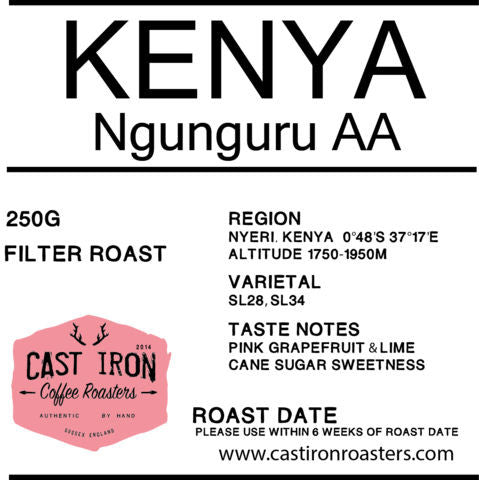 Cast Iron Coffee Roasters - Kenya - Ngunguru, Nyeri - AA - Filter