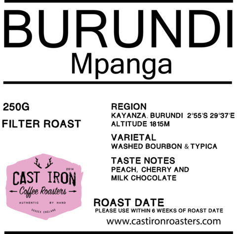 Cast Iron Coffee Roasters - Mpanaga - Burundi - Washed - Filter