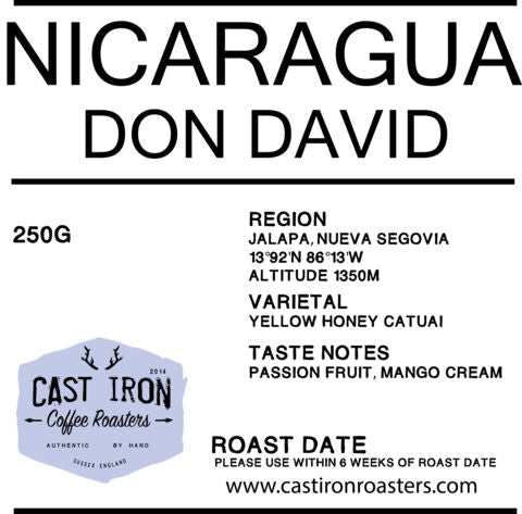 Cast Iron Coffee Roasters - Nicaragua - Don David - Yellow Honey