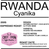 Cast Iron Coffee Roasters - Rwanda - Cyanika - Washed Red Bourbon