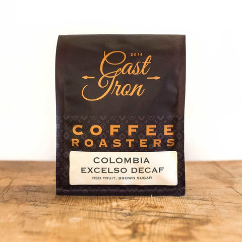 Cast Iron Coffee Roasters: Colombia, Excelso, Swiss Water, Decaffeinated