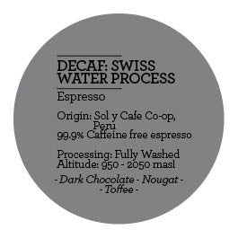 Climpson and Sons - Swiss Water Process Decaf: Sol y Cafe Co-Op, Peru