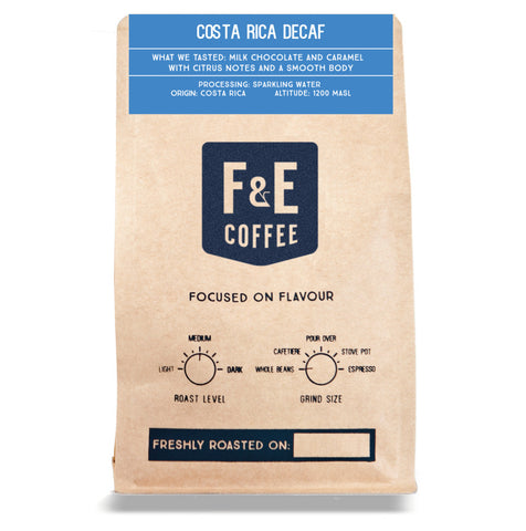 F & E Coffee: Costa Rica, Sparkling Water, Decaffeinated