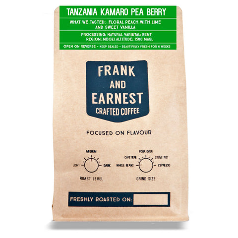 Frank and Earnest Coffee - Tanzania Kamaro Pea Berry - Natural