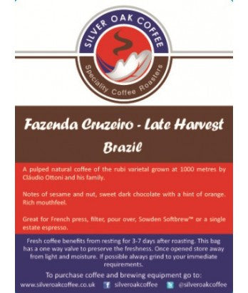 Silver Oak Coffee - Single estate: Fazenda Cruzeiro, Brazil Late Harvest