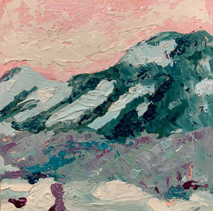 """Pink sky mountain 1""  8x8 inches"