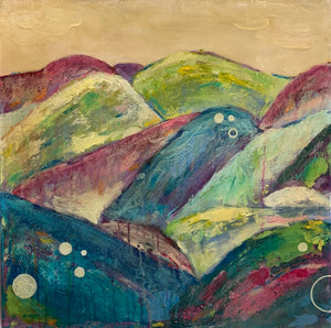 """Patchwork Mountains"" 20x20 inches"