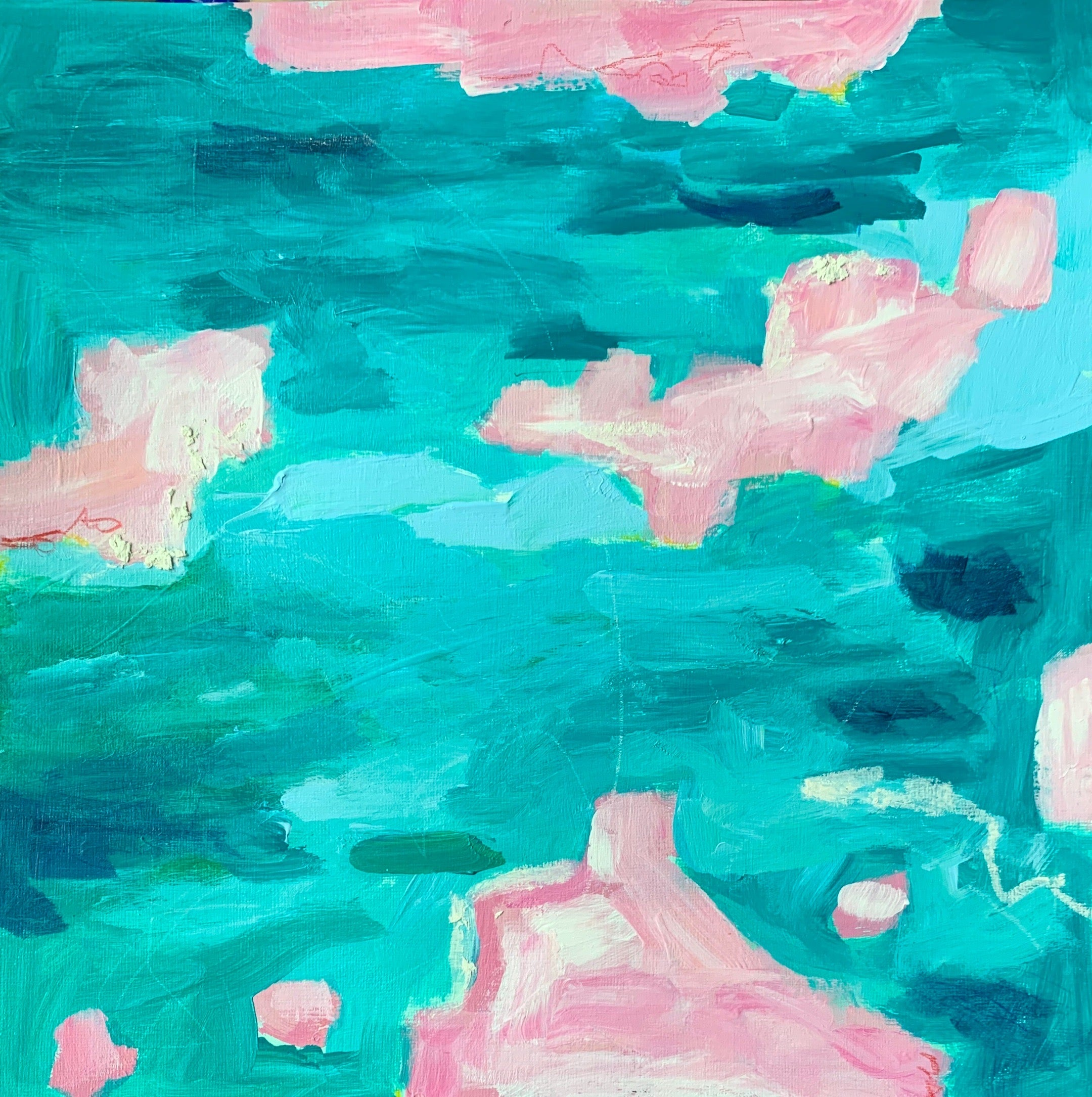 """Depths of Turquoise:1-3"" 12x36"