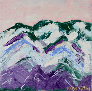 """Pink Sky Mountain 3"" 8x8 inches"