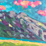 Brightly Colored Abstract Mountain | Turquoise sky, Pink Clouds | 4x4 inches