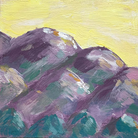 Abstract Mountains | Yellow sky 2 | 4x4 inches