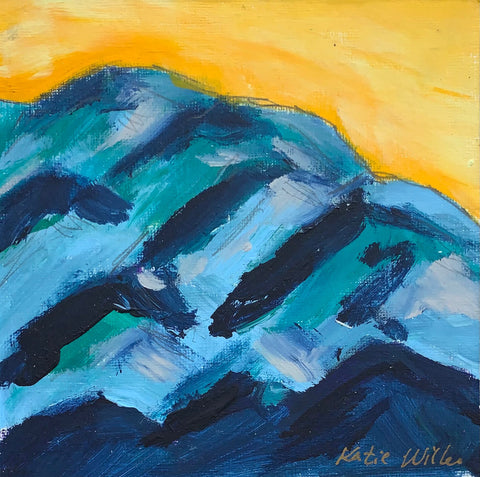 Abstract Mountain | Orange Sky | 6x6 inches