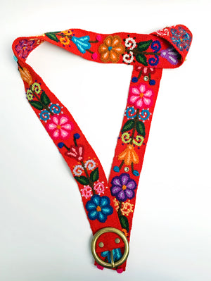 Embroidered Floral Red Belt
