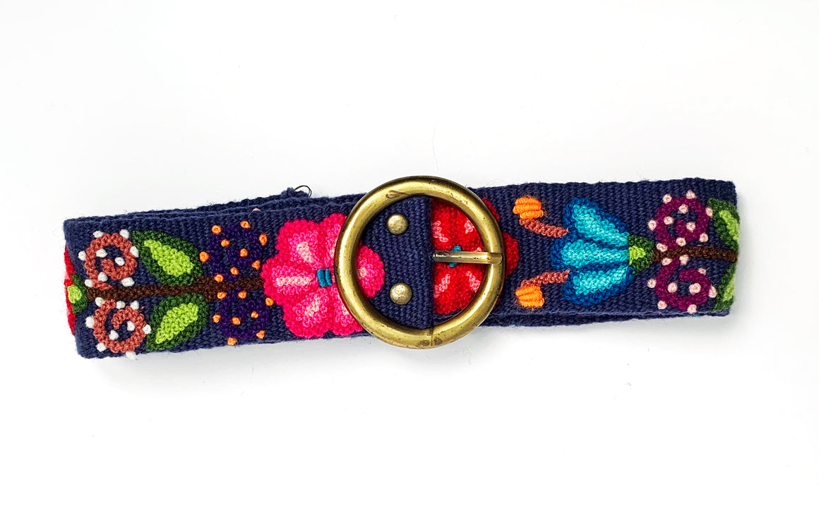 Embroidered Floral Blue Belt