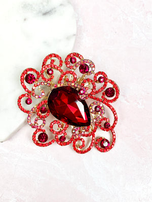 Red Rhinestone Scroll Brooch