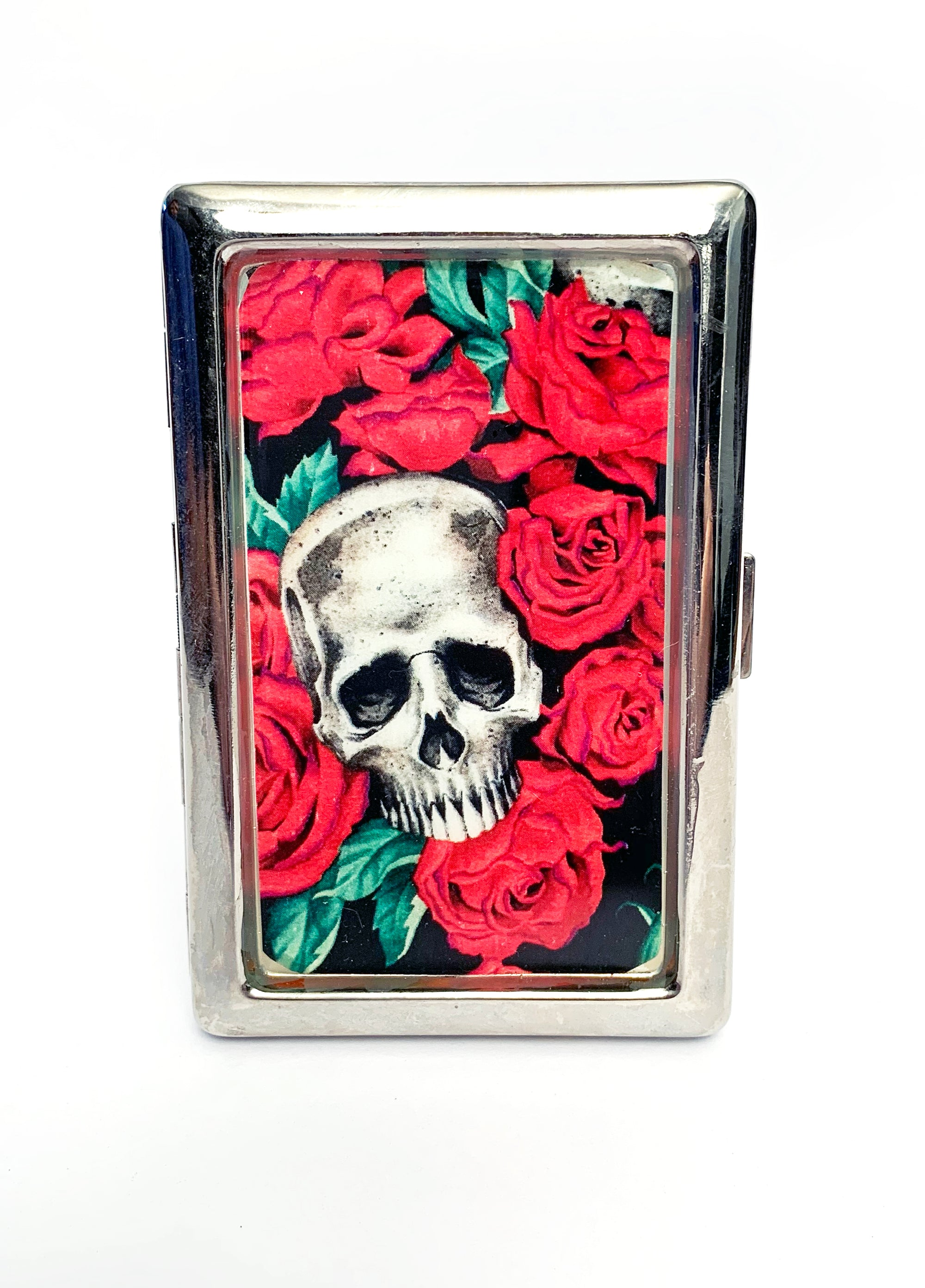 Skull and Roses Metal Card Case