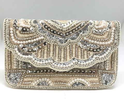 Glass Bead and Pearl Clutch Purse