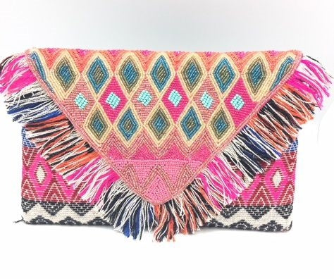 Glass Bead and Fringe Clutch Purse