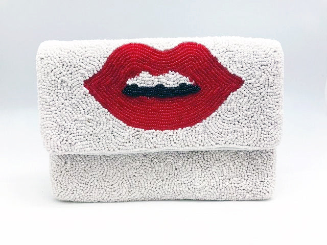 Red Lips Glass Beaded Clutch