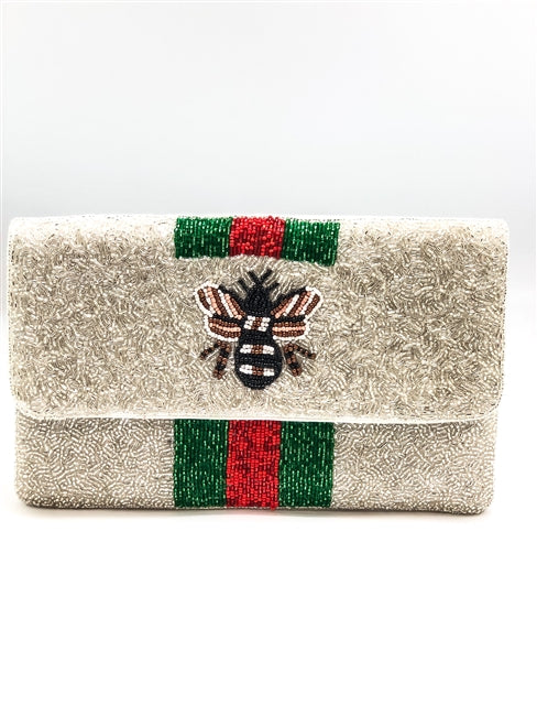 Queen Bee Glass Beaded Clutch Purse
