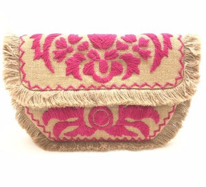 Pink Embroidered Cotton Clutch Purse