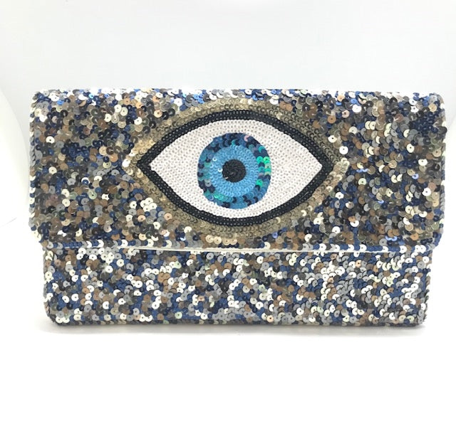 Evil Eye Sequin Clutch Purse