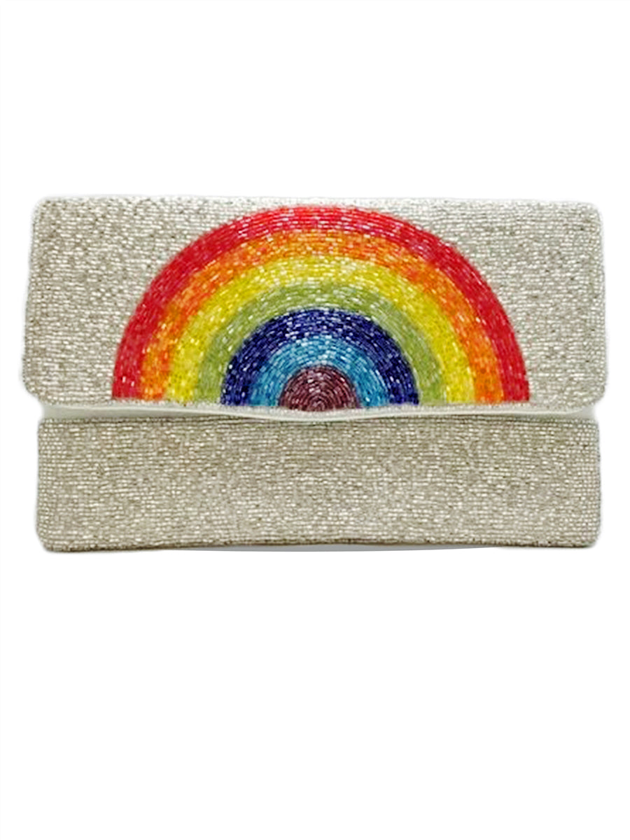 Rainbow Glass Beaded Clutch