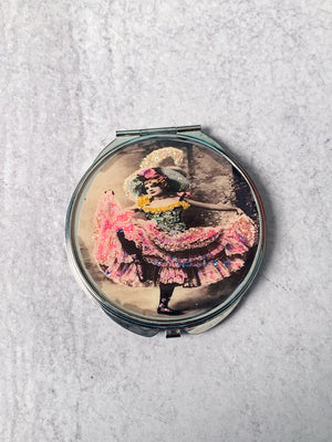 Vintage Can-Can Dancer Compact Mirror