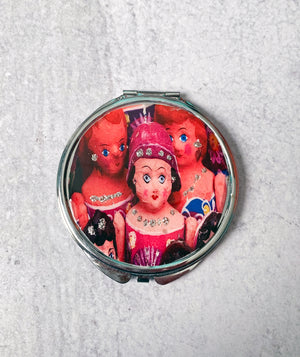 Mexican Paper-Mache Dolls Compact Mirror