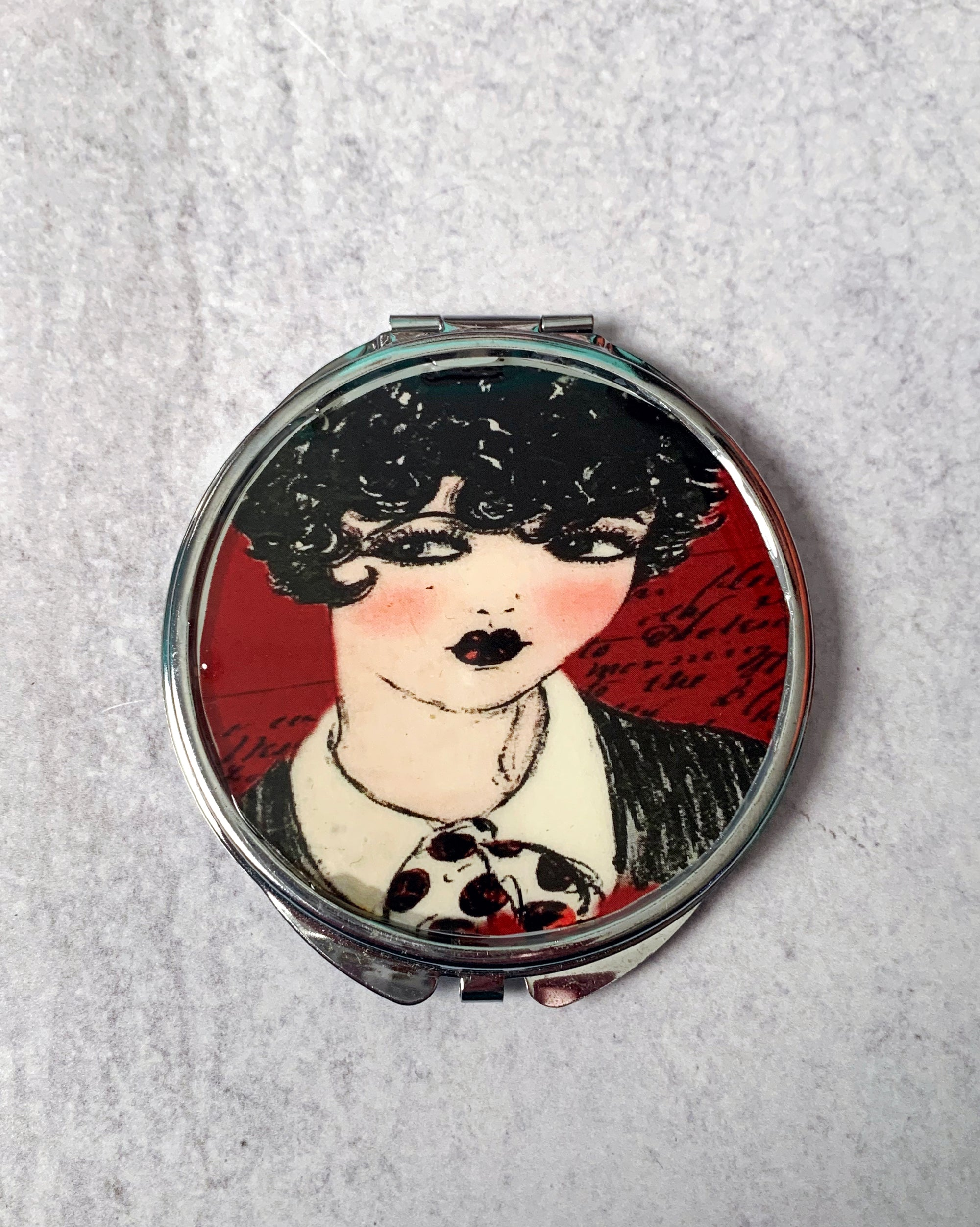 Flapper Lady Illustration Compact Mirror