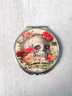 Skull and Roses 'Carpe Diem' Compact Mirror