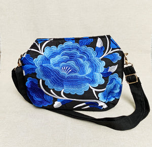 Embroidered Blue Floral Crossbody Bag