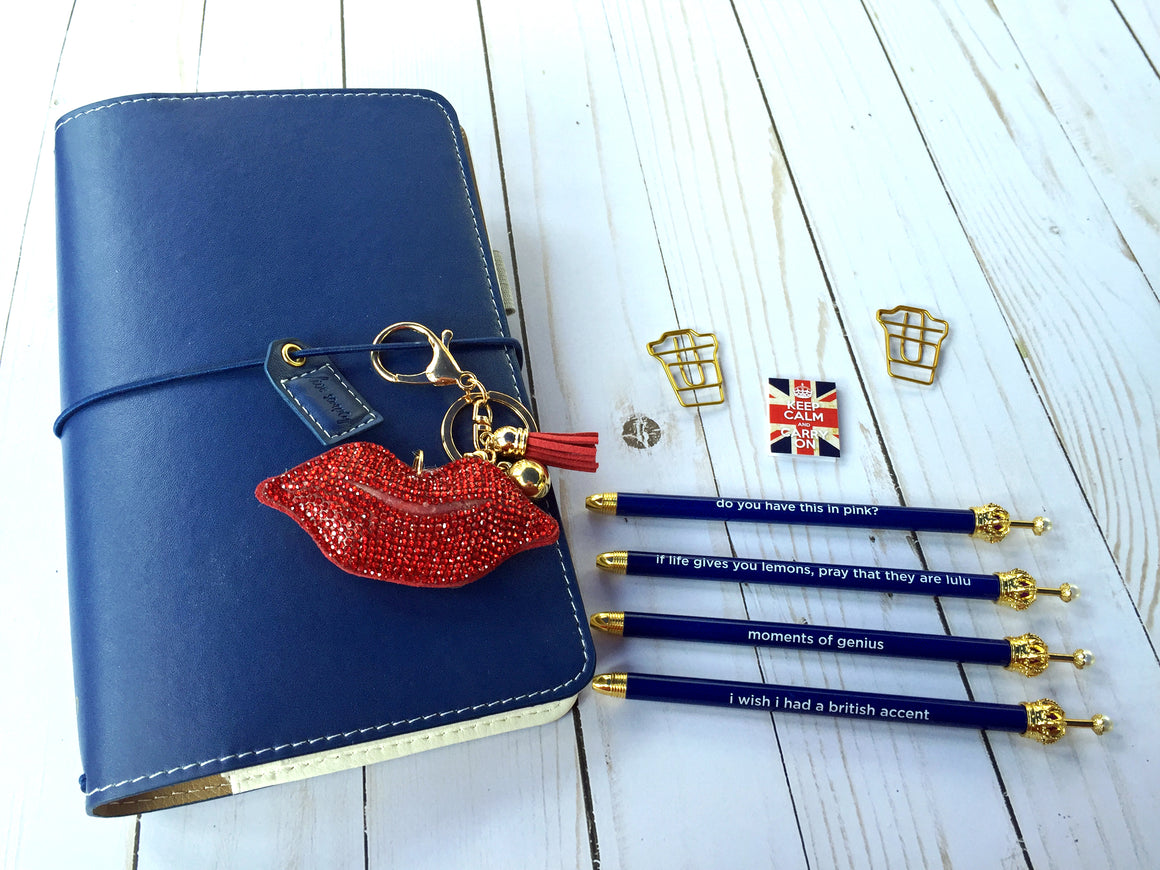 Navy Blue Crown Ballpoint Pen with Cute Mantra