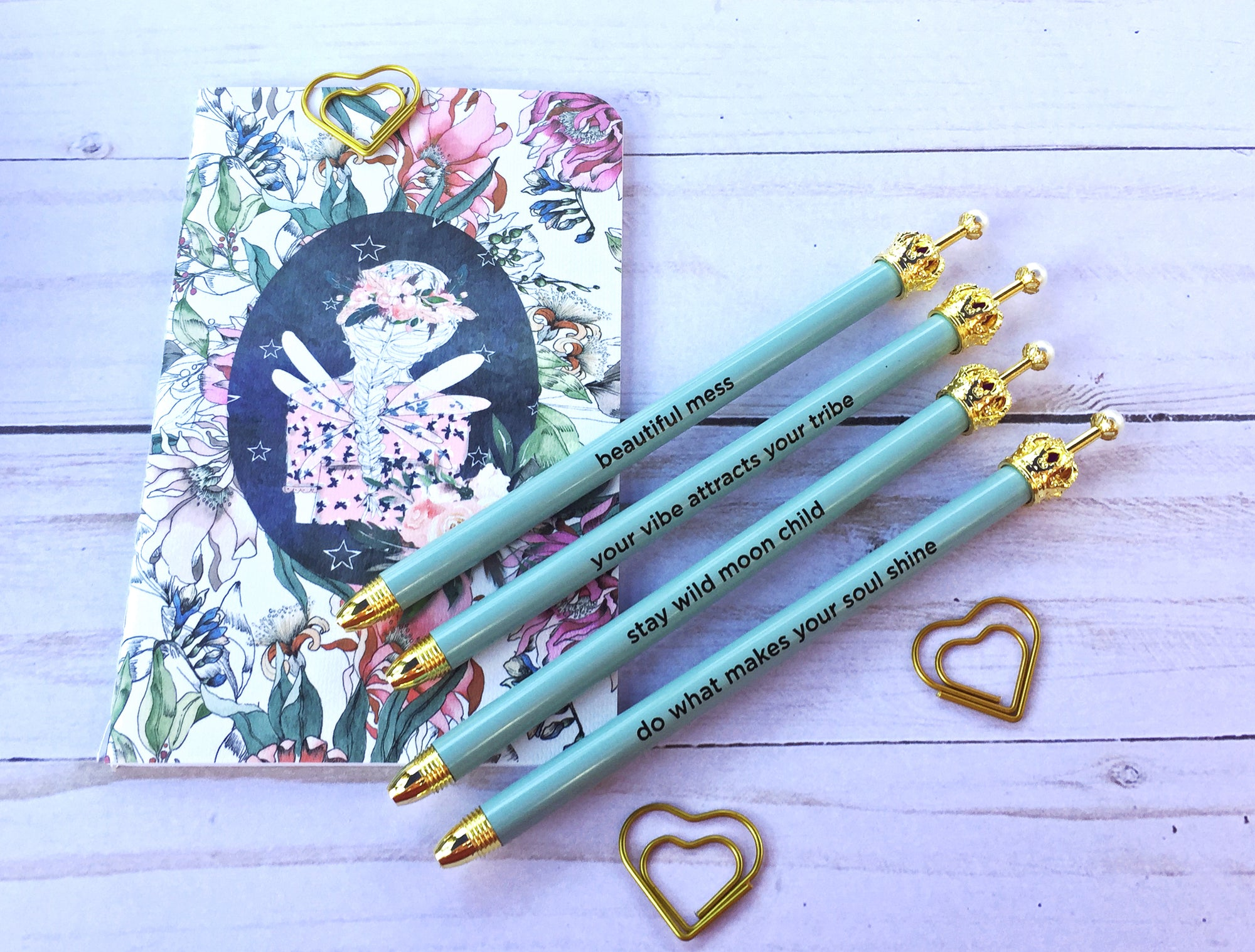 Light Blue Crown Ballpoint Pen with Cute Mantra