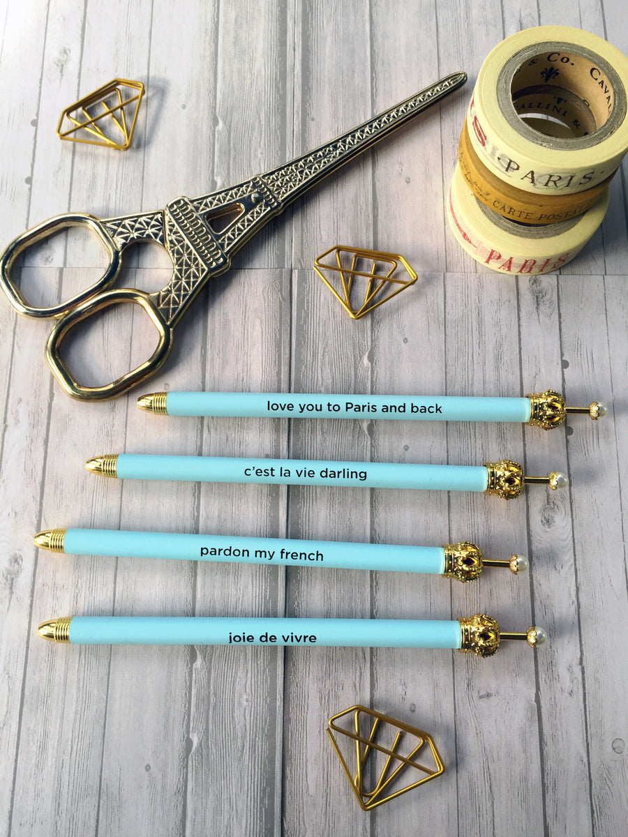 Light Blue Crown Ballpoint Pen with Cute French Mantra