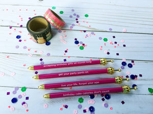 Hot Pink Crown Ballpoint Pen with Happy Birthday Mantra's