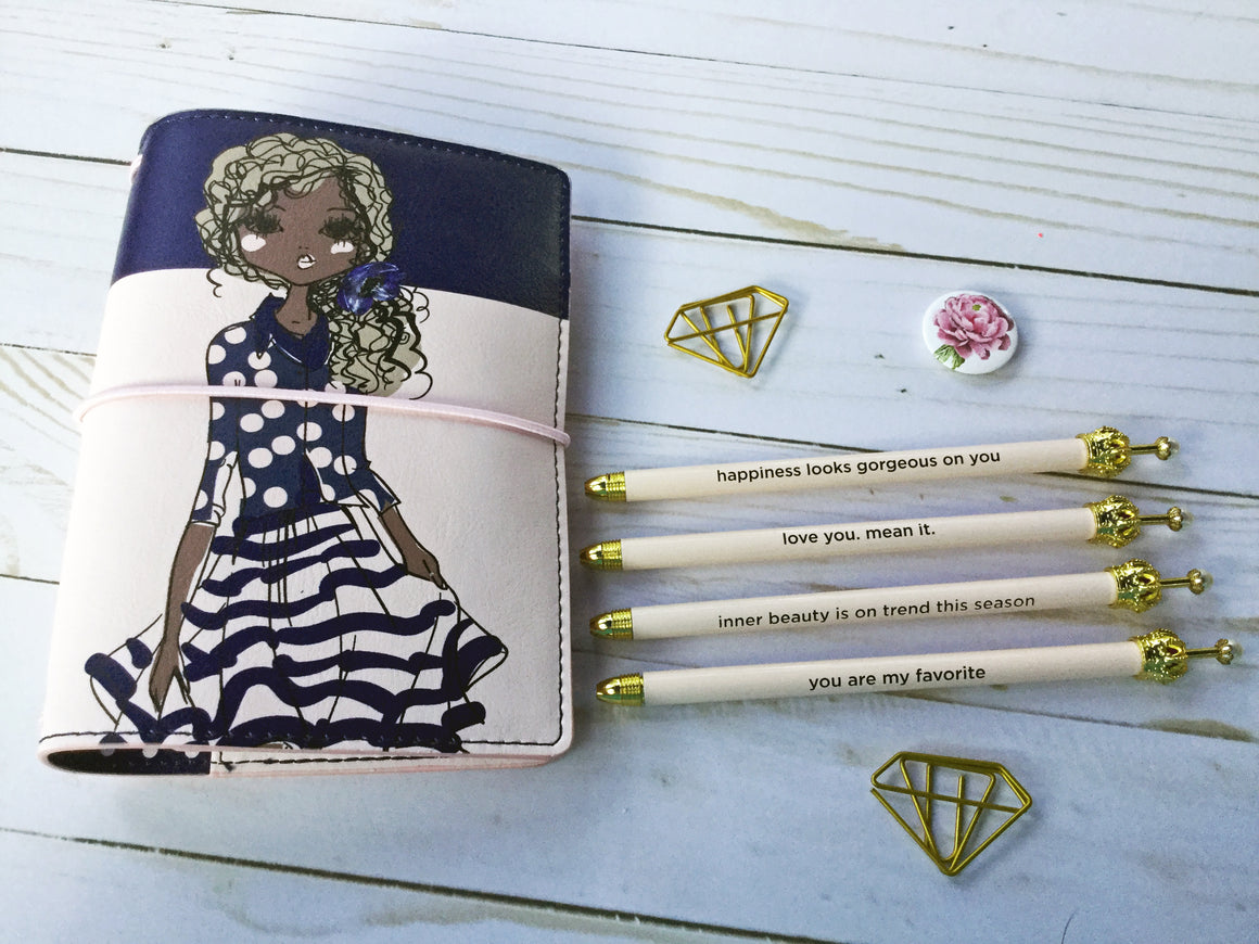 Blush Ballpoint Pen with Cute Mantra