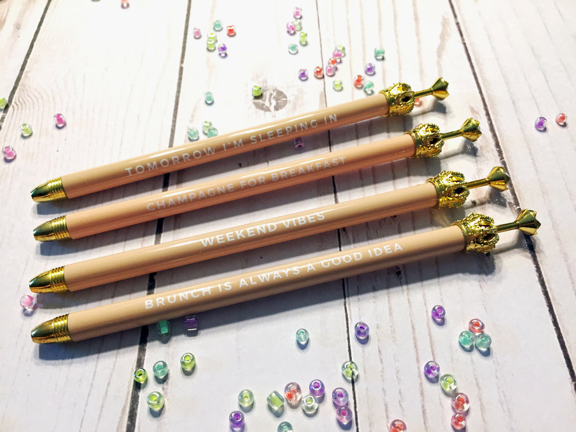 Blush Crown Ballpoint Pen with Cute Mantra