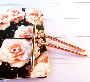 Diamond Top Rose Gold Ballpoint Pen