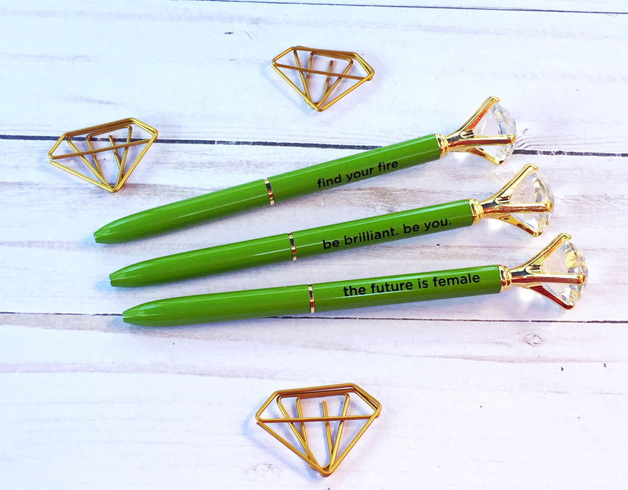 Diamond Top Green Ballpoint Pen