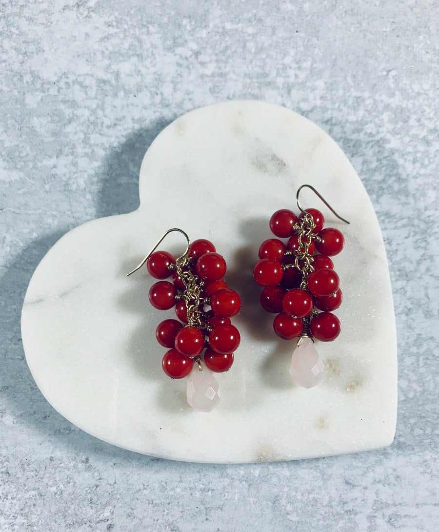 Red Coral and Pink Quartz Earrings