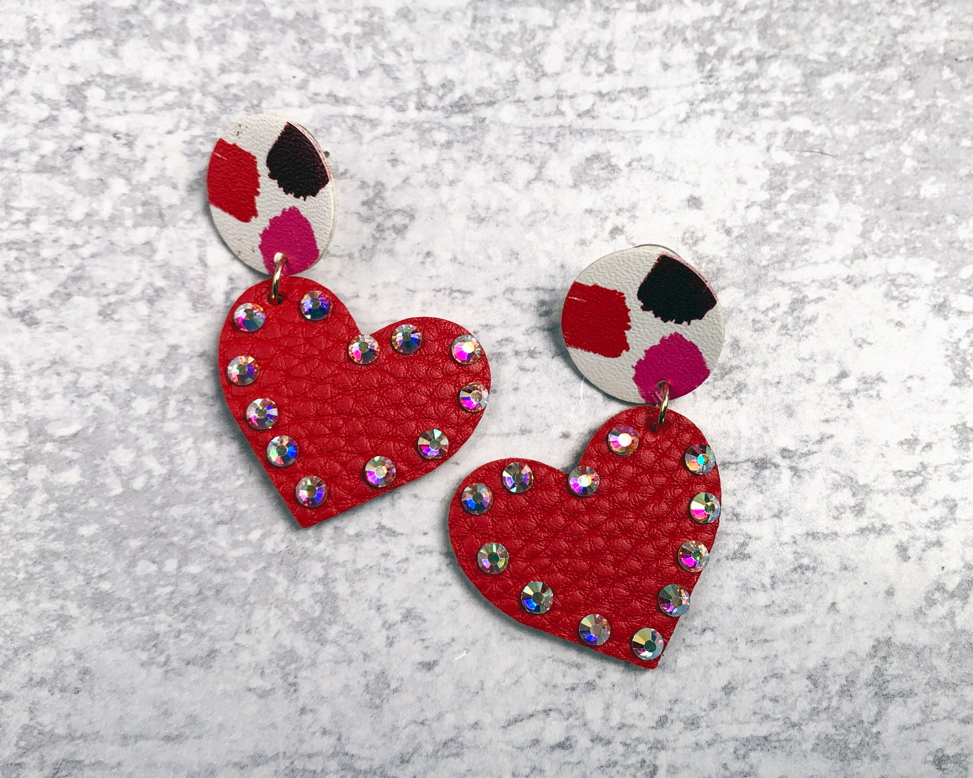 Leather Heart Bling Earrings