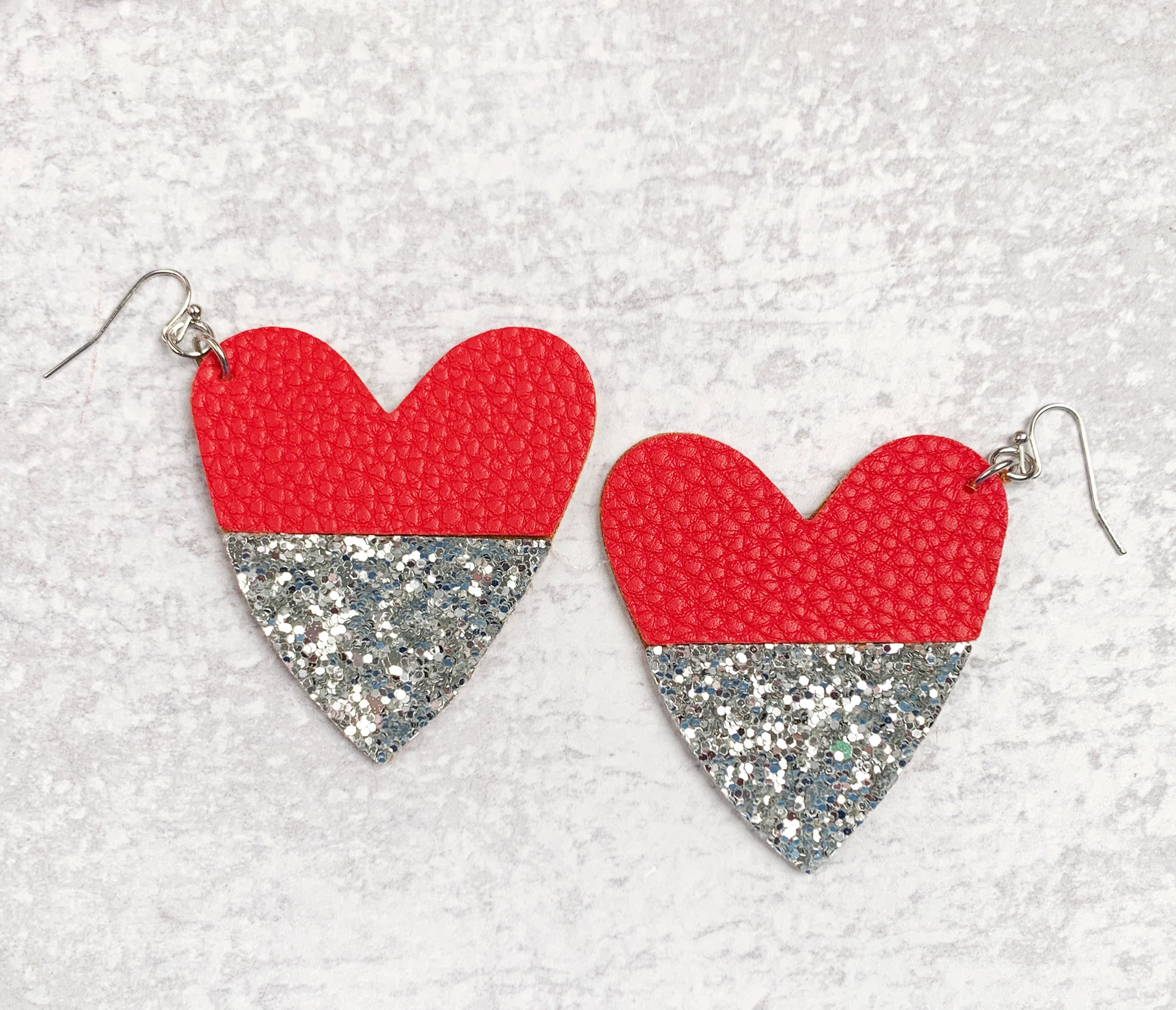 Leather Heart Glitter Earrings