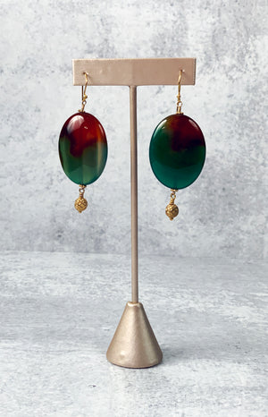 Agate Stone and Gold Accoutrements Earrings