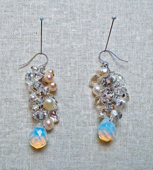 Clear Cascade Quartz Earrings
