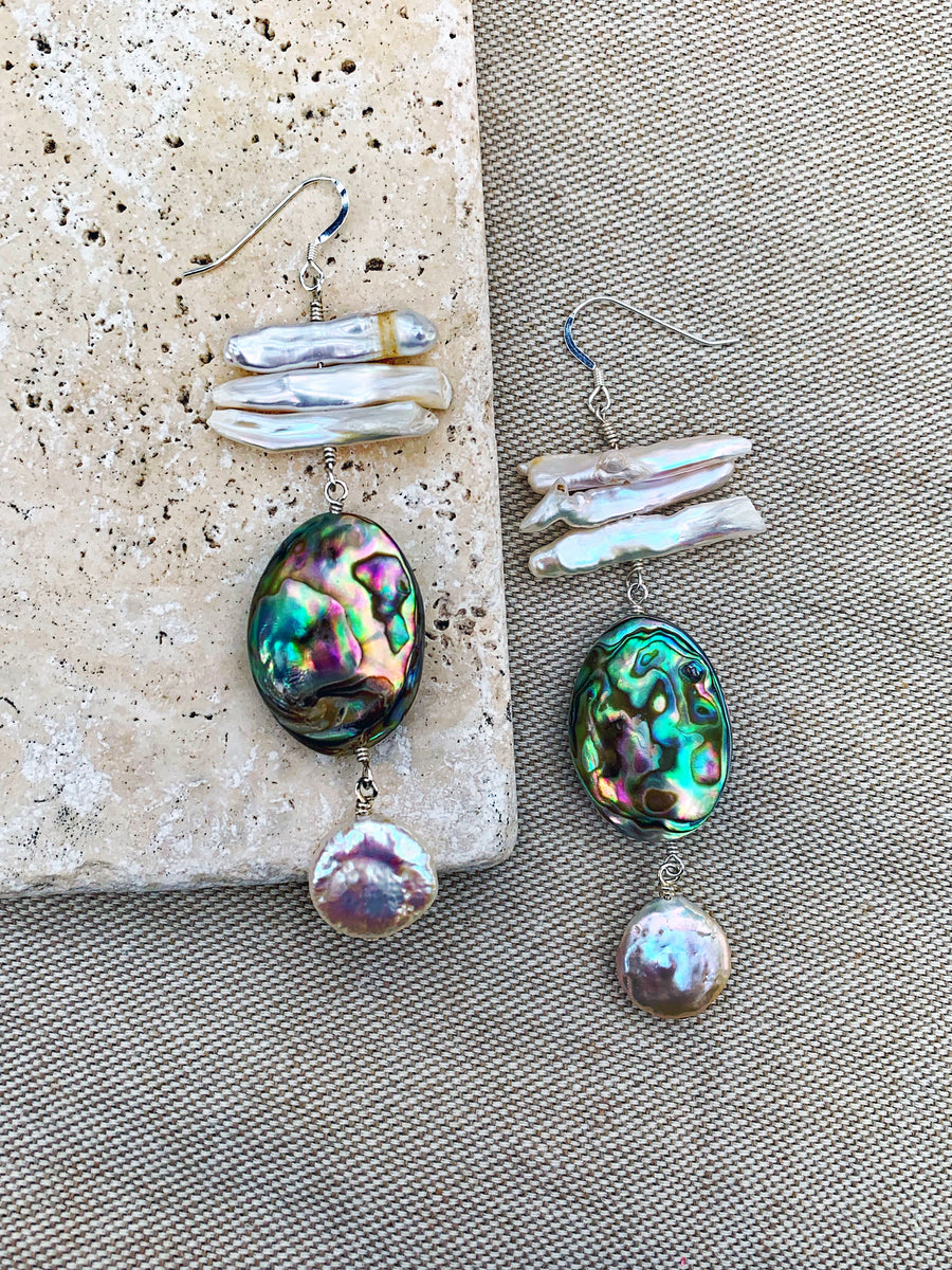 Abalone and Freshwater Pearl Earrings