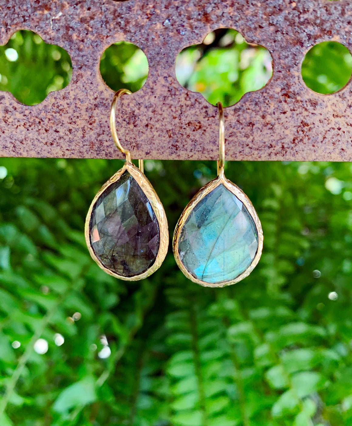 Hooked Labradorite Drop Earrings